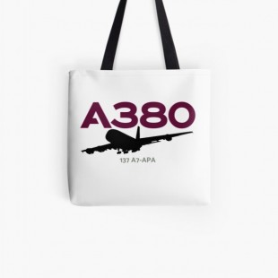 Airbus A380 137 A7 APA (Black) Tote Bag- by AvGeekCentral