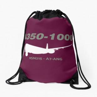 Airbus A350 1000 MSN 215 A7 ANG Drawstring Bag-by AvGeekCenteral