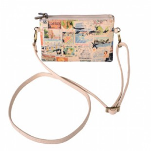 Philately printed leather Cross Body Bag