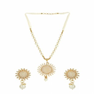 Gold-Plated Off-White Pearl Handcrafted Jewellery Set