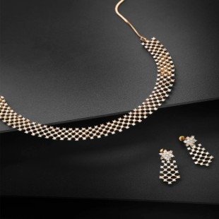 Gold-Plated Stone-Studded Handcrafted Jewellery Set