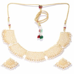 Off-White Gold-Plated Beaded Handcrafted Jewellery Set